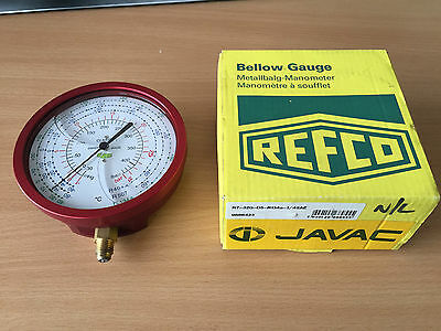 Refco R7-320-DS-R134a High Pressure Gauge 100mm 1/4 SAE oil filled bellow gauge
