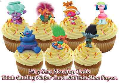 24x TROLLS stand up edible wafer paper birthday party cupcake toppers