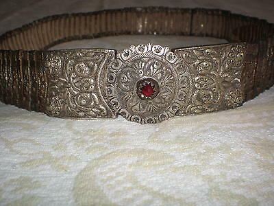 Greek or Bulgarian hand-made authentic silver buckles with belt from the 19th c.