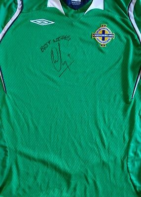 Wigan Athletic Will Grigg signed Northern Ireland shirt PROOF AFTAL
