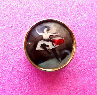 Vintage Button,gilt Metal,celluloid Figure Of A Can Can Dancer