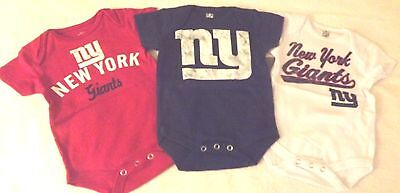 Infant 0-3M Or 3-6M 3-Pack Nfl New York Giants Cotton Bodysuits Set Nwt