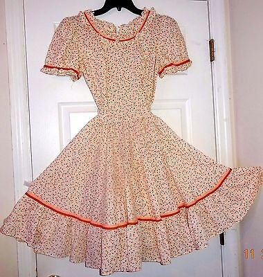 SQUARE DANCE DRESS, PINK & BROWN tiny flowers SIZE S/M