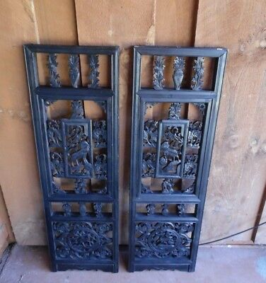 Antique Pair Black Asian Oriental Relief Hand Carved Wood Wall Art Panels