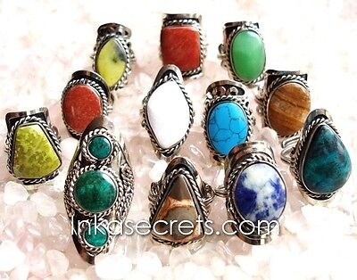 250 Alpaca Silver Ring with Semi-precious Stone - DHL shipping only to USA!