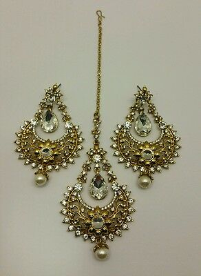 New Indian bollywood Elegant earrings and tikka in gold/white stones jewellery