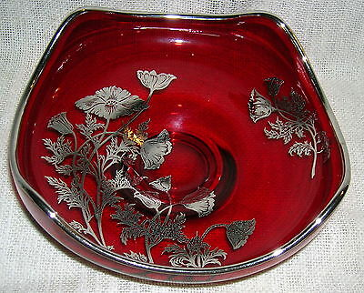 Vintage Viking Silver Overlay Ruby Red Dish