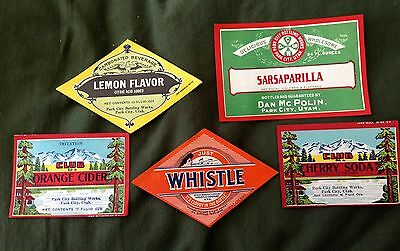PARK CITY UTAH Vintage Paper SODA POP LABELS Unused -- lot of 5