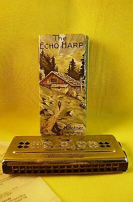 THE ECHO HARP HOHNER HARMONICA- Box & Instructions-Germany-Bell Metal Reeds