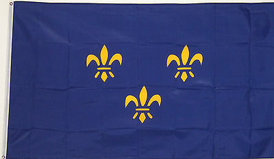 FRANCE 3x5 ft BLUE FRENCH FLUER DE LIS w/3 FLAG