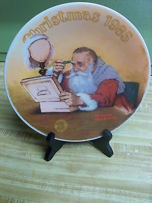 Grandpa Plays Santa 1985 Christmas Plate By Norman Rockwell By Knowles China