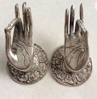 Goddess Hands Solid Bronze Door Handles Silver Patina