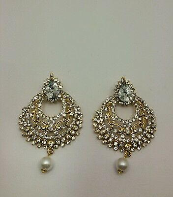 New Bollywood Elegant Indian Earrings costume  in gold  jewellery