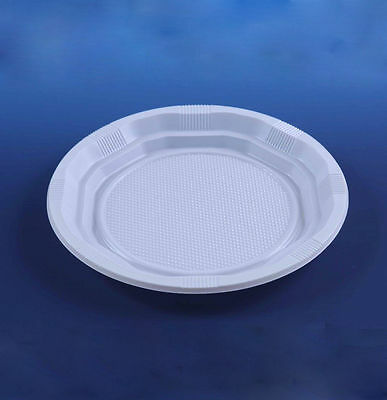 "50 Disposable White 9"" PLASTIC PLATES party ware light weight high quality"
