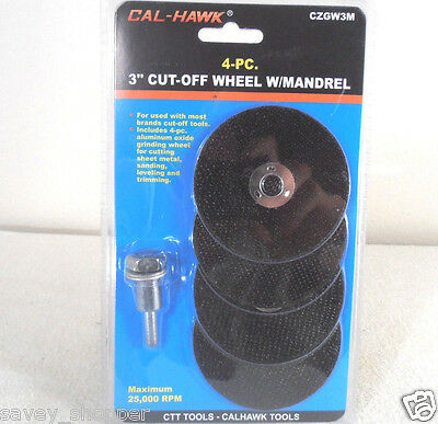 """4 Pc. 3"""" Cut Off Wheels With Mandrel"""