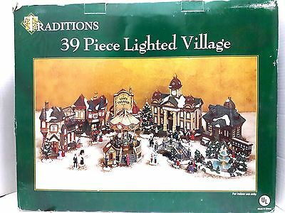New Rare Traditions 39-Piece Grace Theater Lighted Village Christmas Decoration