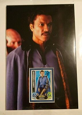 Billy Dee Williams Lando signed Star Wars Topps card 12x8 display  PROOF AFTAL
