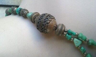 Vintage Ethnic Turquoise and Filigree Beads Necklace