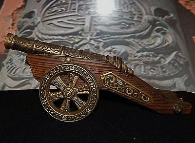 Large, Elaborate Vintage Model Brass Cannon, Spanish, Wooden Carriage