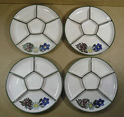 Set (s) of 4 Hand Painted Swiss Flowers Fondue Plates Edelweiss Forget-me-not