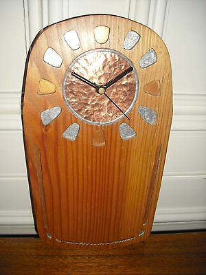 Handmade in Scotland, Larch Wood Wallclock, Arts and Crafts Style, Copper Face