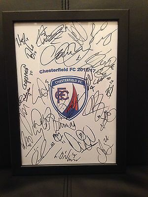 Chesterfield FC X27 NEW 2016/17 Hand Signed Framed A4 Autograph Sheet,Ched Evans