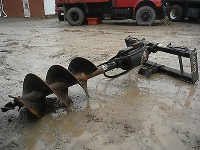 2012 Mcmillen Hydraulic Auger / Post Hole Digger Skid Steer Attachment W/ Bit!