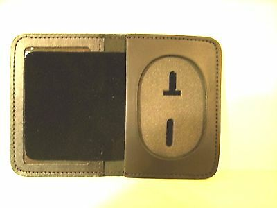 Police Badge Wallet Oval Recessed Cut Out ID Case Holder Leather CT-14/ MS-14