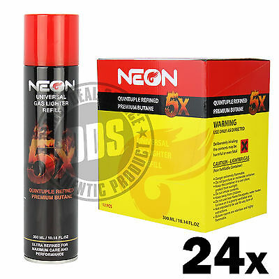 24 cans Neon 5x Filtered Butane Ultra Premium Refined Refill Lighter Cans 300mL
