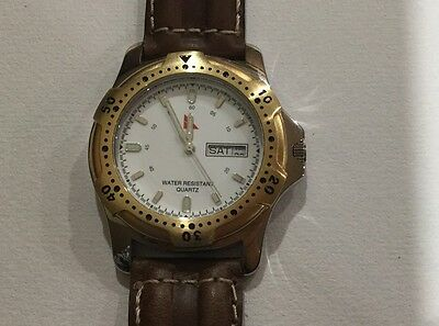 SALE This WEEK! NEW QANTAS Water Resistant Watch Brown Leather Strap,new Battery