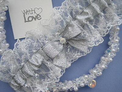 Ivory Lace Silver Lame Ribbon Wedding Bridal Garter & Crystal. Gift For Bride