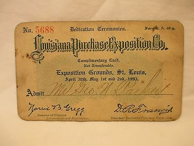 1903 Louisiana Purchase Exposition Dedication Ceremonies Admission Card Rare
