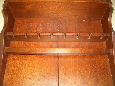 "Spoon & Plate  RACK Wood 8 Place  22"" x 12"" Walnut Wall  Display Holder"