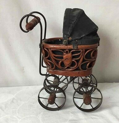 Vintage Wicker Wooden & Metal Miniature Baby Doll Carriage Buggy w/ Cloth Top