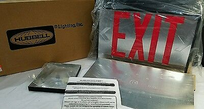 NEW Hubbell Pathfinder LED Exit Sign Emergency RED w/box Double Sided Metal