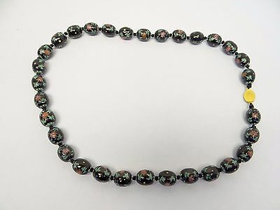 Vintage Used Glass Beads Black Green Red Ladies Costume Jewelry Necklace Old