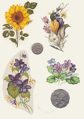 #389. 4 x Waterslide ceramic decals Decoupage Yellow and purple floral assortmen