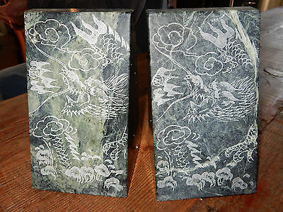 VINTAGE Solid GREEN MARBLE Etched SET OF BOOKENDS Books Shelf ENDS