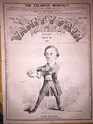 1862 Extremely Rare Vanity Fair ~ William Parson Brownlow - Lincoln & Merrimac