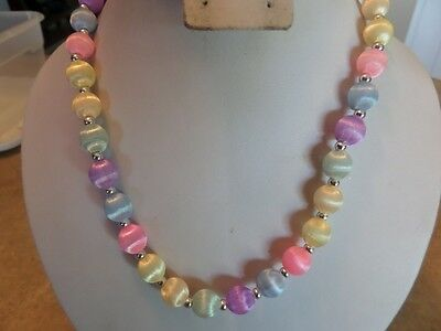 Vintage Pastel Silk Thread Covered Bead Necklace