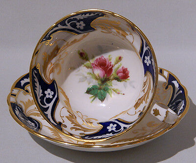 Vint HAMMERSLEY Footed RED ROSE CUP & SAUCER Handpainted COBALT & GOLD GILDING