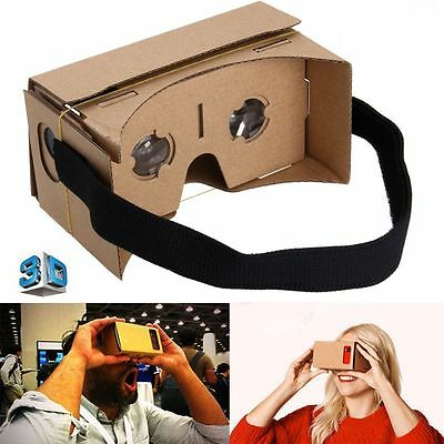 VIRTUAL REALITY GOOGLE CARDBOARD HEADSET 3D VR BOX GLASSES FOR ANDROID iPHONE【US