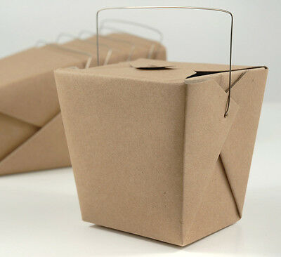 New Brown Kraft Chinese Take Out Containers w/ Handle (1 Pint) - Free Shipping