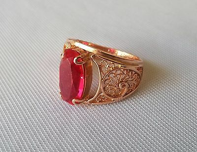 Vintage 14K Rose Gold Filigree Ruby Ring Size 10.5