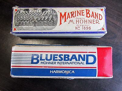 Hohner German Harmonica Pair Blues Band Marine In Box Old Vintage Music Germany