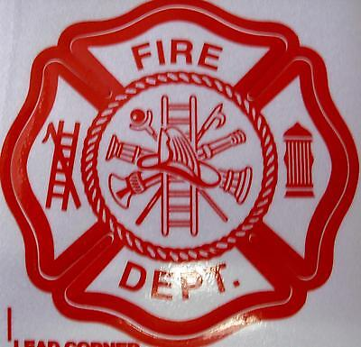 "Fire Dept  3"" 3M Inside Window  Red White Decal Sticker"