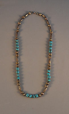Rare Old Navajo Silver And Hubbell Trade Bead Necklace