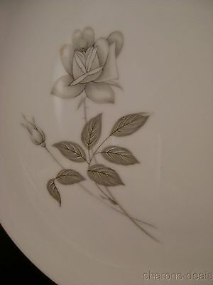 Queens Royal Japan Rosebud Platinum Rose Dinner Plate Silver White Fine China