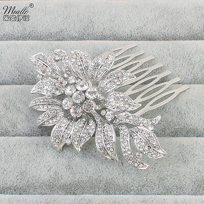 Wedding Bridal Headpiece Crystal Rhinestone Flower Leaf Style Hair Clip Comb Pin