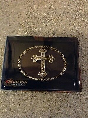 Nocona Western Belt Buckle Oval Cross Crystals Silver On Brown background